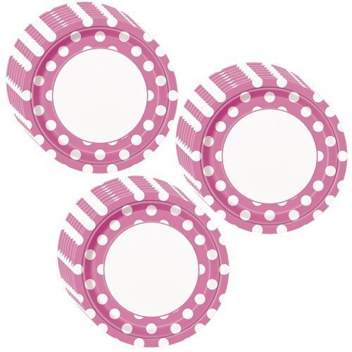 Hot Pink Polka Dot Party Lunch/Dinner Plates - 24 Guests by Unique -
