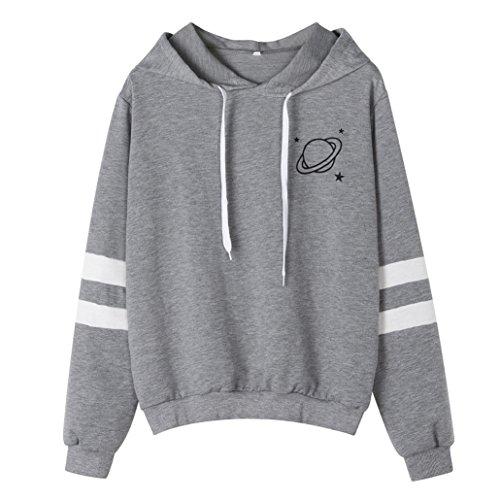 Zainafacai Hoodies Women's Comfy Printed Hooded Sweatshirt Fashion Couples Pullover Hoodie (Gray, L)