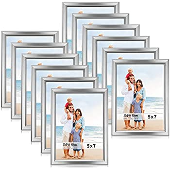 LaVie Home 5x7 Picture Frames (12 Pack, Silver) Simple Designed Photo Frame with High Definition Glass for Wall Mount & Table Top Display, Set of 12 Classic Collection