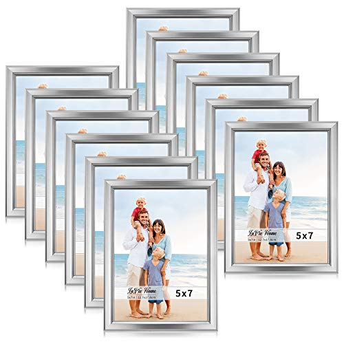 - LaVie Home 5x7 Picture Frames (12 Pack, Silver) Simple Designed Photo Frame with High Definition Glass for Wall Mount & Table Top Display, Set of 12 Classic Collection