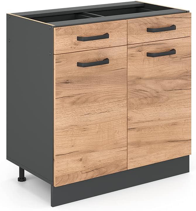 VICCO Küchenschrank R-Line Hängeschrank Unterschrank Küchenzeile Küchenunterschran Anthrazit (Eiche, Schubunterschrank 80cm)