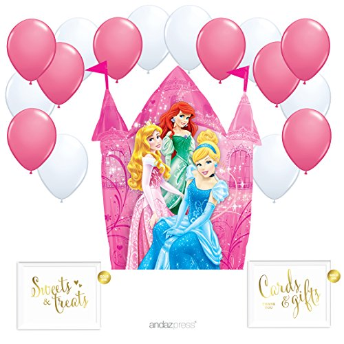 Princess Party Balloon - Andaz Press Balloon Party Kit with Gold Ink Signs, Disney Princess Castle with White and Rose Pink Latex Balloons, 19-Piece Kit