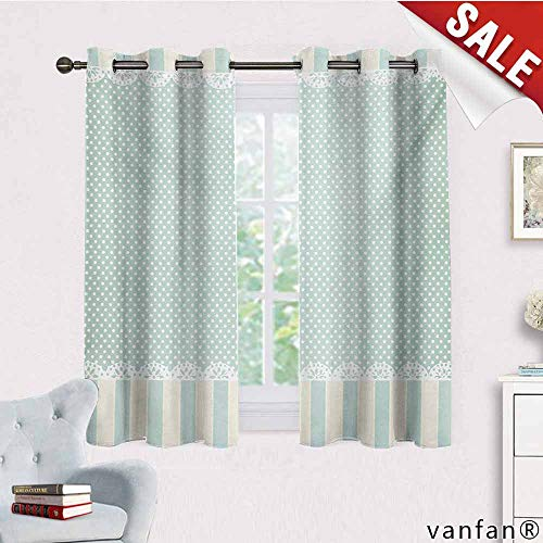 Big datastore Darkening Draperies Curtains Panels,Shabby Chic,Traditional Old Fashioned Vertical Stripes Ornaments and Dots,2 Panels for Bedroomalmond Green Cream White,W55 Xl63