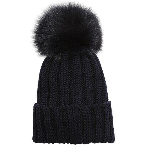 4b43a7505c9 Amazon.com  Fox Furry Hats Black Pompoms Puffs Ball Black cotton ...