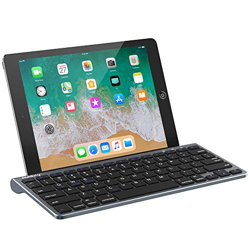 Nulaxy KM13 Bluetooth Keyboard with Sliding Stand Compatible with Apple iPad iPhone Samsung Android Windows Tablets Phones - Grey