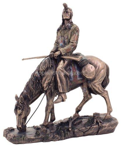 Sale - Blackfeet Indian on Horse Statue Sculpture