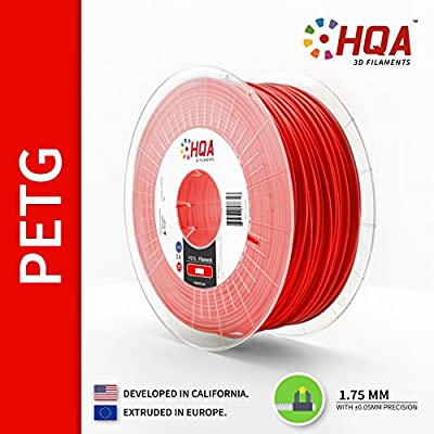 HQA PETG 3D Printer Filament, Red, 1.75MM, 1KG Spool [Made in Europe]