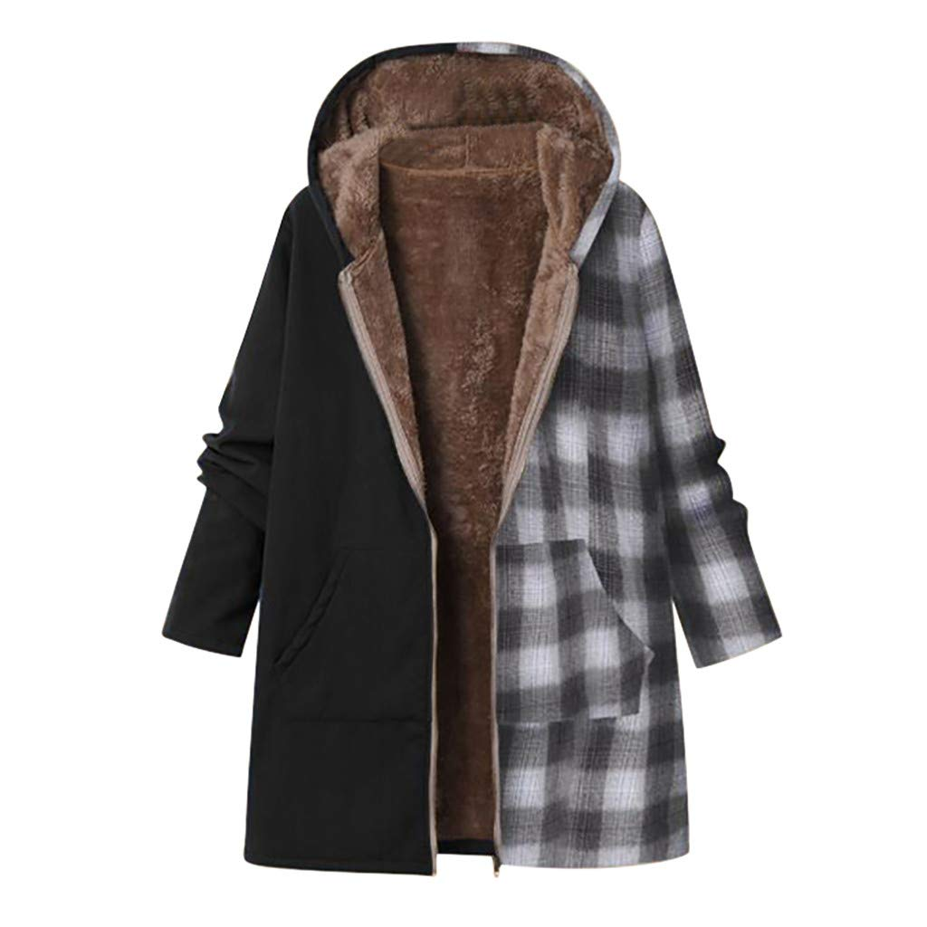 Fashionhe Plaid Stitching Jacket Thicker Zipper Hooded Coat Women Winter Warm Outwear Whit Pockets (Black.XXL) by Fashionhe