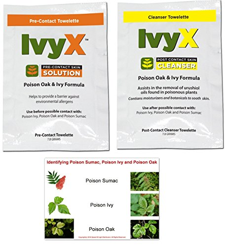 Poison Ivy Oak And Sumac - IvyX Poison Oak & Poison Ivy Pre-Contact & Post-Contact Urushiol Block and Cleanser Combo 15 Individual Travel Towelettes Each (30 Total) Includes Poison Ivy, Poison Oak and Poison Sumac ID Placard