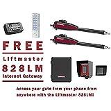 Liftmaster LA400PKGU Dual Swing Gate Opener Kit - Liftmaster 828LM Internet Gateway & Weatherproof Keypad Prox Reader 1,000 Users
