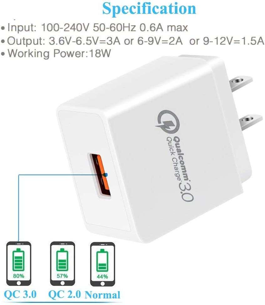 2-Pack 18W QC 3.0 Adaptive USB Wall Charger Compatible with Samsung Galaxy S20 S10 S10e S9 S8 Note 10 9 8 Sony Moto Google Pixel 4-3-3A-2-XL Fast AC Adapter iPad iPhone 11 Pro LG