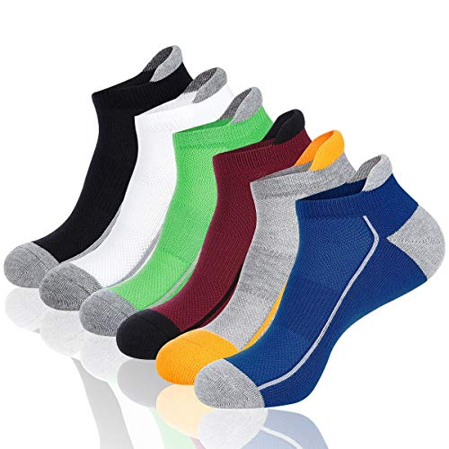 COOVAN Mens Athletic Low Cut Socks Men 6 Pack Ankle Mesh Cushioned Breathable Running Tab Sock (Black 1,white 1,yellow 1,blue 1,green 1,claret1) - Low White Green