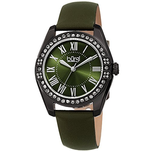 (Burgi Women's Watch - Swarovski Crystal Studded Bezel - Skinny Leather Black Strap Colored Edges - Classic Roman Numerals On Sunray Dial - BUR206GN)