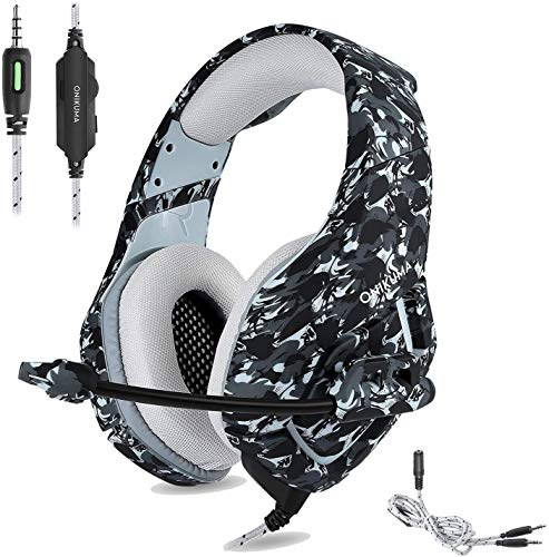 Glorytrack Gaming Headset 3.5mm FORTNITE Stereo Headphones Headband with Noise Canceling Mic for Xbox ONE PC PS4 Smartphones Laptop Computer Mac Nintendo Switch Camouflage Grey