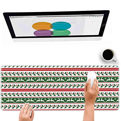 Mouse Pad Large Mousepad for Gaming Christmas Jumping Reindeers Border with Xmas Mistletoe Poinsettia Flower Burgundy White and Dark Green Big Rubber Cloth Mat (31.5 x 11.8 x 0.12 Inch)