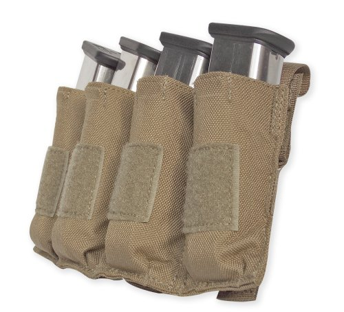 Tacprogear Quad Pistol Mag Pouch with Griptite, Coyote Tan