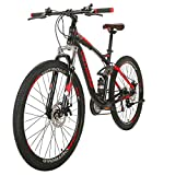 Max4out Mountain Bike 27.5 inch Wheels Double Disc Brake Dual Suspension Anti-Slip 21 Speed MTB Bicycle Black red