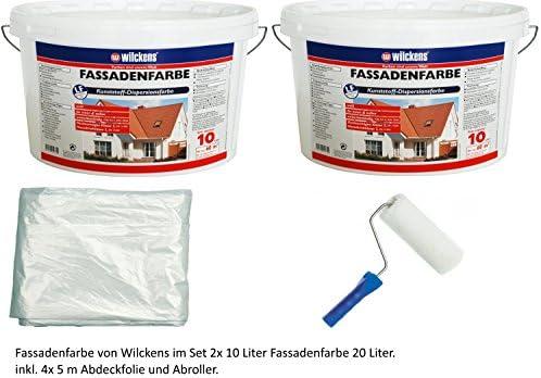 Fassadenfarbe inkl. Farbroller und Abdeckfolie 4x5m von E-Com24 (Fassadenfarbe weiss 20 Liter)