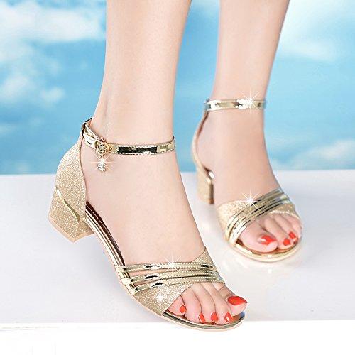 ZFYSS Sandalen Sommer Mitte Und Und Mitte Wild Nackten Zehen Schnallen 4Cm High Heels Dicke Schuhe Damenschuhe. - 56ed51