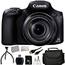 Canon PowerShot SX60 HS Digital Camera + 16GB Bundle 10PC Accessory Kit. Includes 16GB Memory Card + High Speed Memory Card Reader + Extended Life Replacement Battery (NP-10L) + Mini HDMI Cable + Carrying Case + Flexible Gripster Tripod + Starter Kit + Microfiber Cleaning Cloth