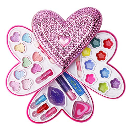 Liberty Imports Petite Girls Heart Shaped Cosmetics Play Set - Fashion Makeup Kit for Kids