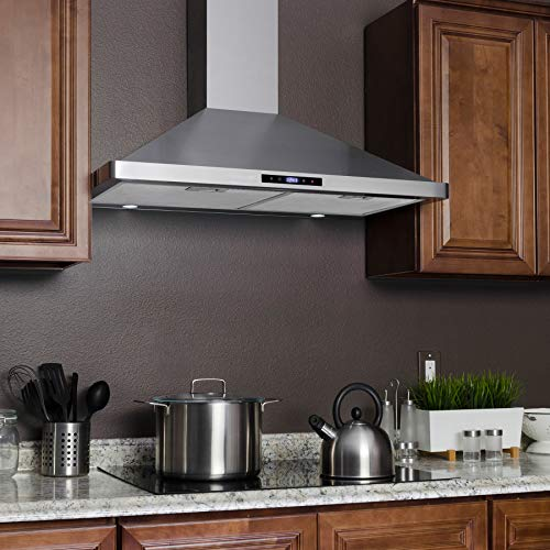 AKDY Wall Mount Range Hood 30-inch Stainless-Steel Hood Fan for Kitchen – 3-Speed Professional Quiet Motor – Premium Touch Control Panel – Modern Design – Mesh Filter & LED Lamp