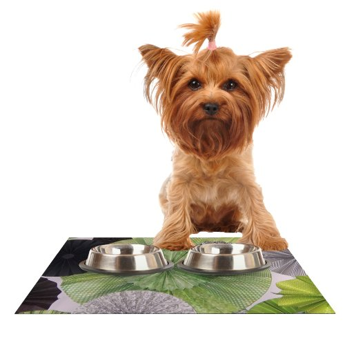 KESS InHouse Heidi Jennings Serenity  Green Grey Feeding Mat for Pet Bowl, 18 by 13-Inch