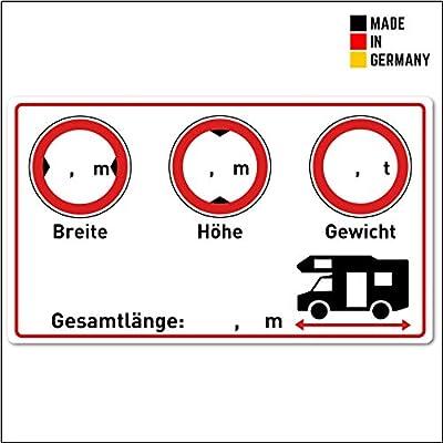 Wohnmobil Aufkleber (Gewicht - Höhe - Breite - Länge - 9,5x5,5 cm klein) - Cockpit Zubehör für Womo und Camper…
