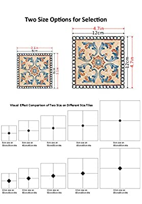 H4S Pack of 10pcs Peel and Stick Removable Waterproof PVC Decorative Tile Stickers Decals for Ceramic Floor and Wall Tiles