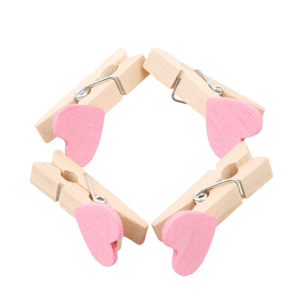 100//Set Fotoclips in Herzform rose W/äscheklammer aus Holz Mini-W/äscheklammern von VWH