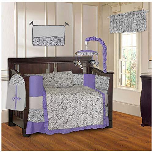 BabyFad Damask Purple 10 Piece Baby Crib Bedding Set
