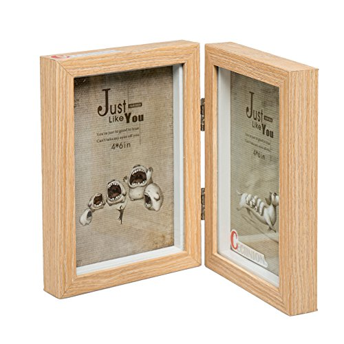 CECIINION Wood Photo Frame, Hinged Double Picture Frames, With Glass Front, Fit For Stands Vertically on Desk Table Top (For 4x6in photo,Light Wood Color) - Custom Frame Metal Ladder