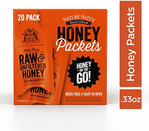 Nature Nate's 100% Pure Raw & Unfiltered Honey; 20 Count Box; Small Honey Packets in Bulk (10 mL/PKT); Enjoy Honey's Balanced Flavor, Just as Nature Intended; Fresh, Convenient and Easy to Carry Snack