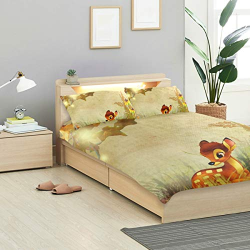 IDO Fall Bambi Autumn Flowers Kids Bedding Comforter Cover Sets Ultra Soft Crystal Velvet Cotton Satin Hotel Collection-Decorative 3 Piece Bedding Set with 2 Pillow Shams,Multicolor