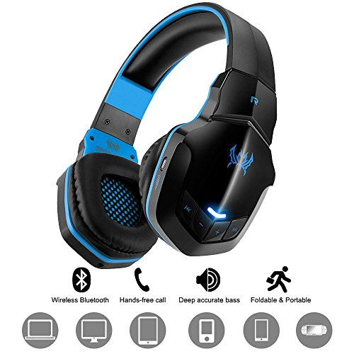 Wireless Gaming Headset DIWUER Bluetooth V4.1 Over-ear Headphone with Mic for PC Tablet iPhone iPad Samsung Smartphone Laptop(Black Blue)