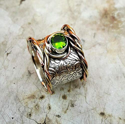 Bohemian Ring Real 925 Sterling Silver Ring Spinner Ring Band Two Tone Mothers Ring Handmade Ring for Women Unisex Ring Oxidized Ring Peridot Ring