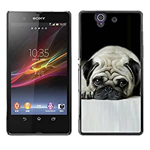 VORTEX ACCESSORY Hard Protective Case Skin Cover - pug sad wrinkles sad small shorthair dog - Sony Xperia Z L36H C6602 C6603 C6606 C6616