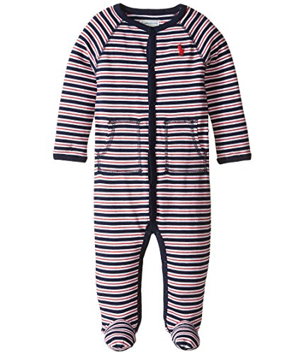 - Ralph Lauren Baby Pajamas Interlock Stripe Coveralls Infant Footies