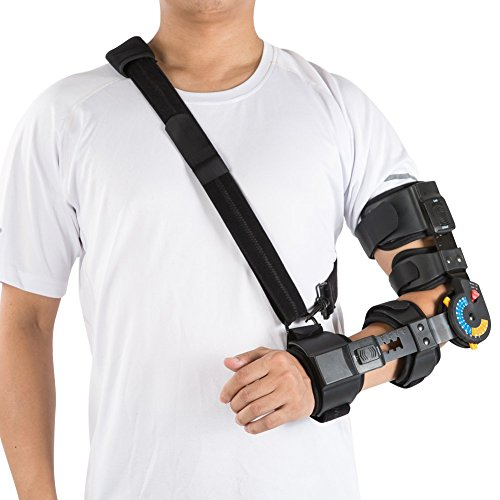 (Hinged ROM Elbow Brace with Sling, Adjustable Post OP Elbow Brace Stabilizer Splint Arm Injury Recovery Support-Left)