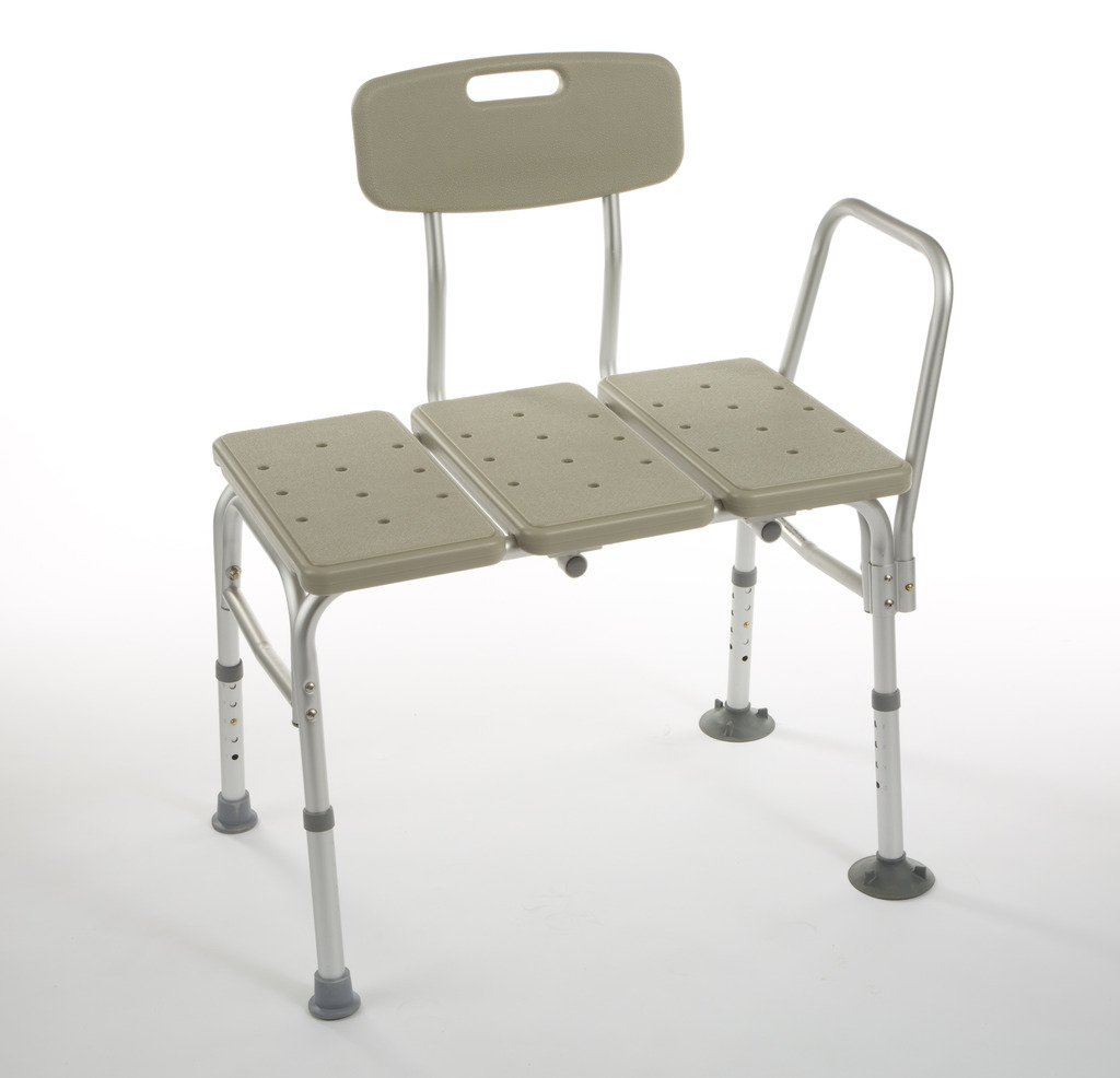 Cardinal Health CBAS0030 Transfer Bench with Back, Aluminum, Supports 250 lb by Cardinal Health (Image #1)