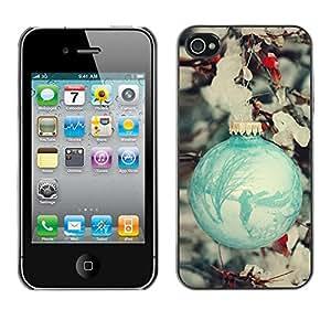 X-ray Impreso colorido protector duro espalda Funda piel de Shell para Apple iPhone 4 / iPhone 4S / 4S - Ball Decoration Teal Snow Winter