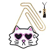 """Sunglasses Cat Case With Crossbody Chain for Apple iPhone 6 / 6s Regular 4.7"""" Screen Soft Silicone Cute Cool Lovely Design For Kids Teens Girls Women(White Cat)"""