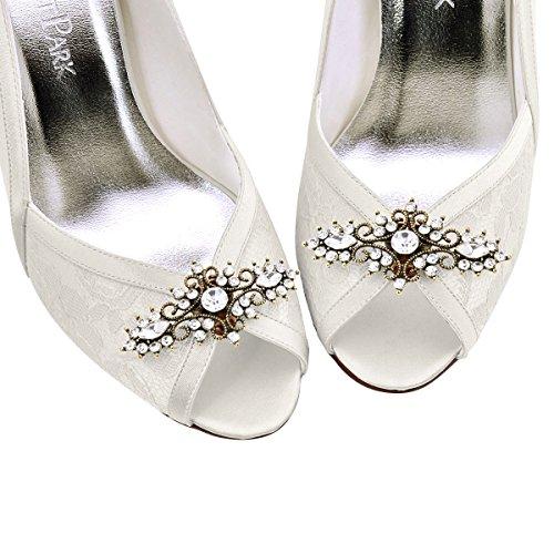 ElegantPark 2 Pcs Clips de Zapatos Diseño de Hoja Rhinestones Boda Fiesta Decoración Oro antiguo