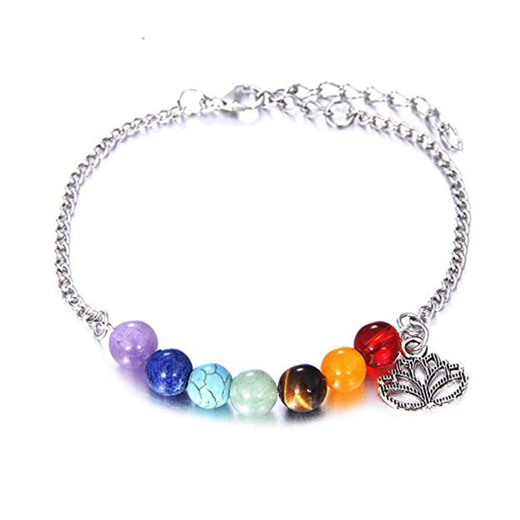 Sperrins Women Girls Colorful Natural Stone Lotus Pendant Beaded Bracelet Charm Accessories Style 1