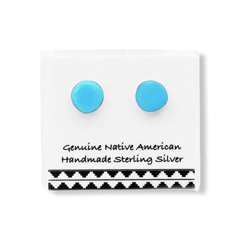 5mm Genuine Sleeping Beauty Turquoise and Onyx Earrings in 925 Sterling Silver Authentic Native American Handmade in the USA Nickle Free