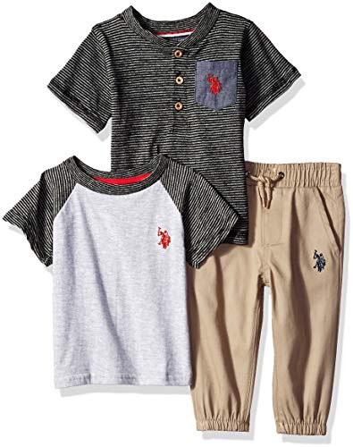 (U.S. Polo Assn. Baby Boys T-Shirt and Pant 3 Piece Set, Red Logo with Space Dye Stripes Black, 12M)