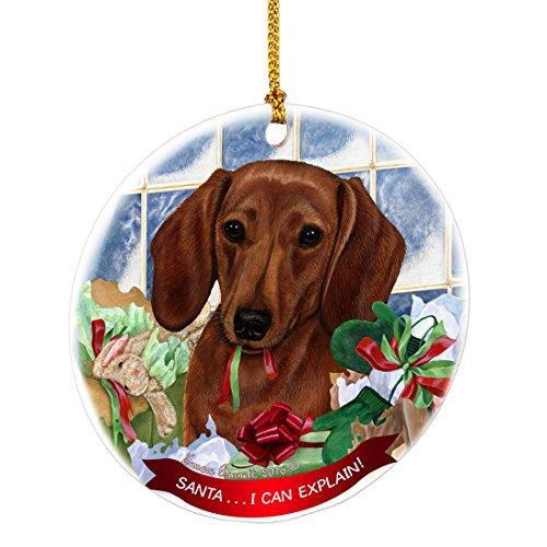 Dachshund Red Santa I Can Explain Happy Howliday Round White Porcelain Hanging Ornament