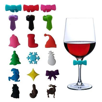 Amazoncom Wine Glass Charms Bulk Silicone Christmas Wedding Party