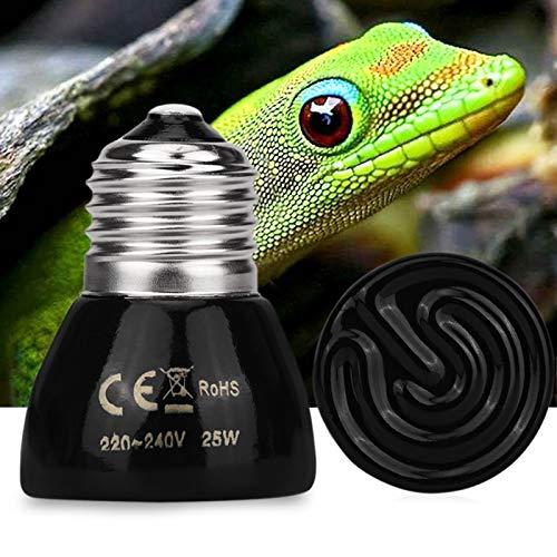 FAWareHouse Habitat Lighting - 25W 50W Pet Heating Light Bulb Infrared Ceramic Emitter Heat Light Lamp Bulb Black for Pet Reptile Brooder 220-240V 1 PCs