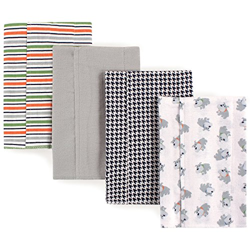 Luvable Friends Baby Layered Flannel Burp Cloth, Bull Dog 4Pk, One Size